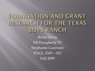 Foundation and Grant Research for the Texas Boys Ranch