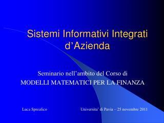 Sistemi Informativi Integrati d ' Azienda