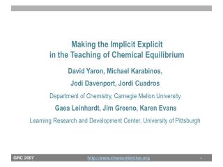 Making the Implicit Explicit  in the Teaching of Chemical Equilibrium