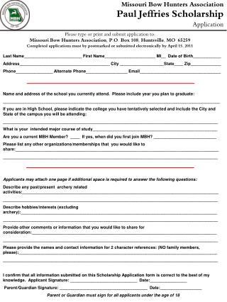 Missouri Bow Hunters Association Paul Jeffries Scholarship Application