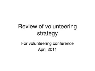 Review of volunteering strategy