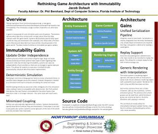 Rethinking Game Architecture with Immutability Jacob Dufault