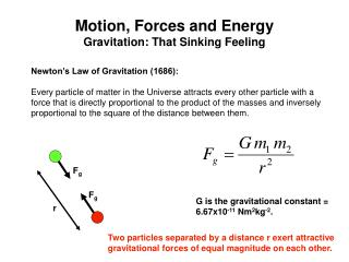 Motion, Forces and Energy Gravitation: That Sinking Feeling