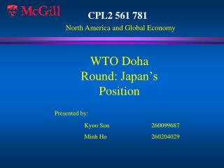 WTO Doha Round: Japan's Position