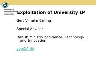 Exploitation of University IP