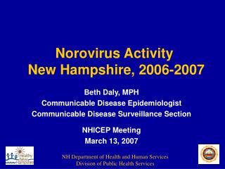 Norovirus Activity  New Hampshire, 2006-2007