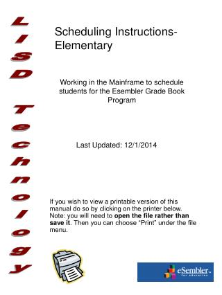 Scheduling Instructions- Elementary
