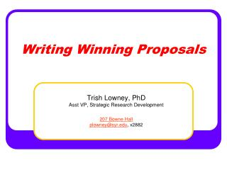 Writing Winning Proposals