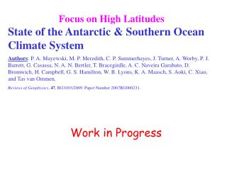 Focus on High Latitudes State of the Antarctic & Southern Ocean Climate System