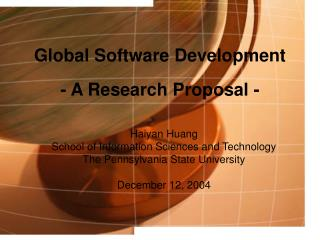 Global Software Development - A Research Proposal -