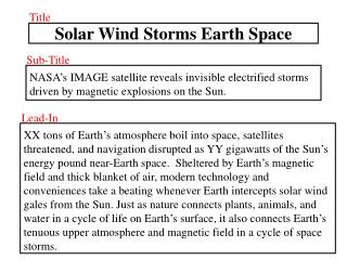 Solar Wind Storms Earth Space