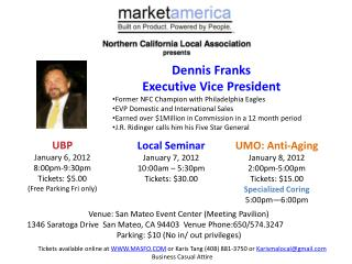 UMO: Anti-Aging January 8, 2012 2:00pm-5:00pm  Tickets: $15.00 Specialized Coring 5:00pm—6:00pm
