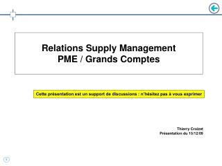 Relations Supply Management   PME / Grands Comptes