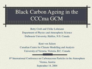 Black Carbon Ageing in the CCCma GCM