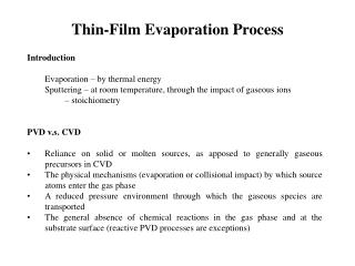 Thin-Film Evaporation Process