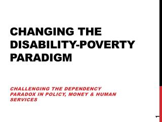 Changing the disability-poverty paradigm