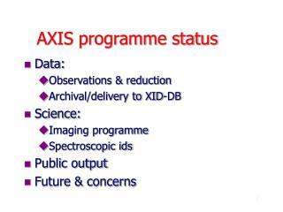 AXIS programme status