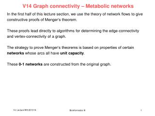 V14 Graph connectivity � Metabolic networks
