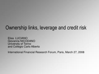 Ownership links, leverage and credit risk