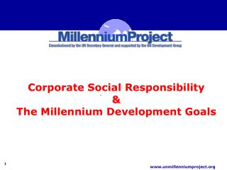 Corporate Social Responsibility  &  The Millennium Development Goals