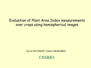 Evaluation of Plant Area Index measurements over crops using hemispherical images