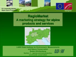 RegioMarket A marketing strategy for alpine  products and services