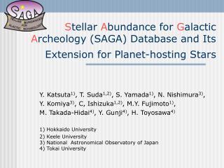 Y. Katsuta 1) , T. Suda 1,2) , S. Yamada 1) , N. Nishimura 3) ,