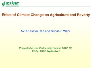 Effect of Climate Change on Agriculture and Poverty
