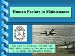 Human Factors in Maintenance