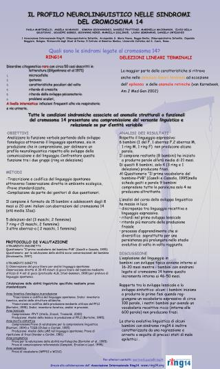 IL PROFILO NEUROLINGUISTICO NELLE SINDROMI DEL CROMOSOMA 14