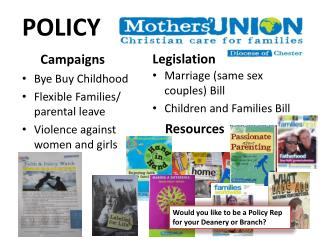 Bye Buy Childhood  Flexible Families/ parental leave Violence against women and girls