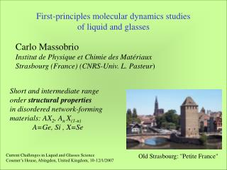First-principles molecular dynamics studies  of liquid and glasses