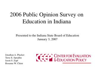 2006 Public Opinion Survey on Education in Indiana