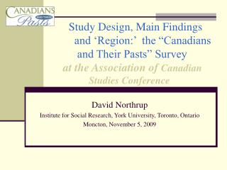 David Northrup Institute for Social Research, York University, Toronto, Ontario