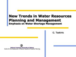 New Trends in Water Resources Planning and Management Emphasis on Water Shortage Management