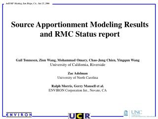 Source Apportionment Modeling Results and RMC Status report