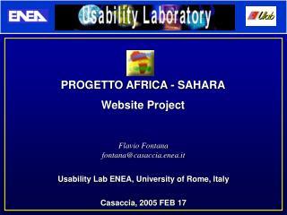 Flavio Fontana fontana@casaccia.enea.it Usability Lab ENEA, University of Rome, Italy