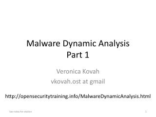 Malware Dynamic  Analysis Part 1