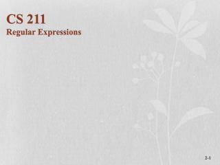 CS 211 Regular Expressions