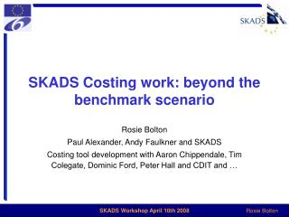 SKADS Costing work: beyond the benchmark scenario