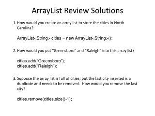 ArrayList Review Solutions