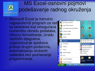 MS Excel-osnovni pojmovi pode š avanje radnog okru ž enja