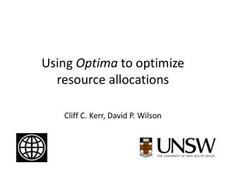 Using  Optima  to optimize resource allocations
