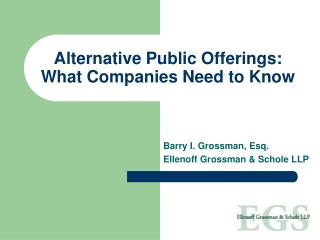Alternative Public Offerings: What Companies Need to Know