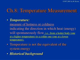 Ch.8: Temperature Measurement