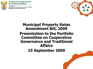 Municipal Property Rates Amendment Bill, 2009
