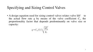 Specifying and Sizing Control  Valves