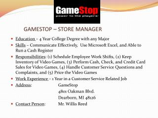 GAMESTOP – STORE MANAGER