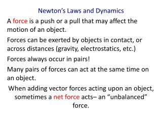 Newton's Laws and Dynamics