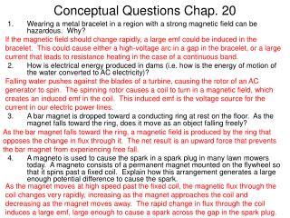 Conceptual Questions Chap. 20